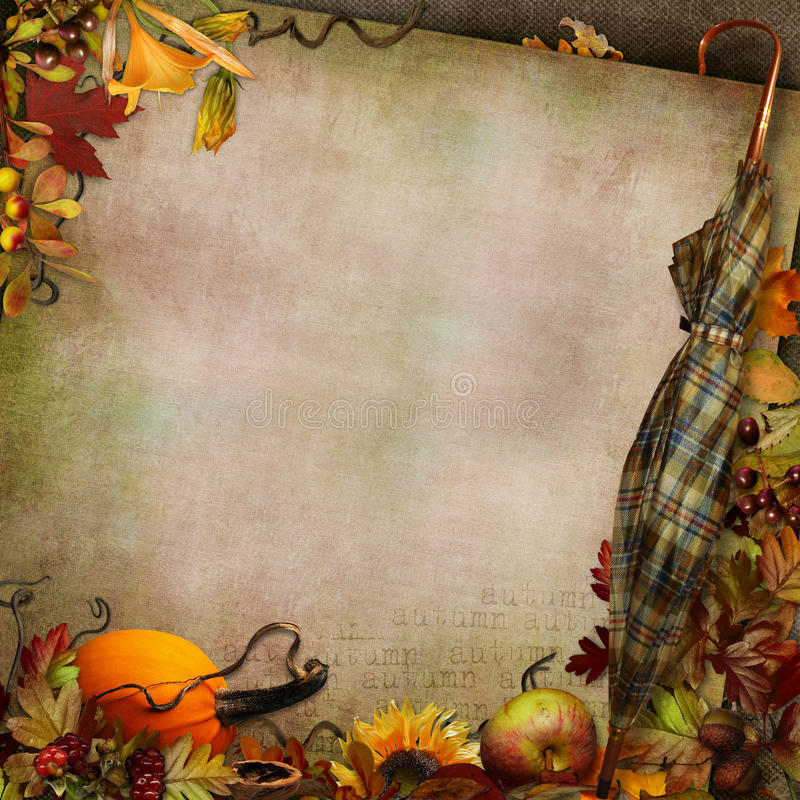 Green vintage background with umbrella autumn leaves and pumpkin. Border of autumn leaves, berries, vegetables and umbrella on vintage background royalty free illustration