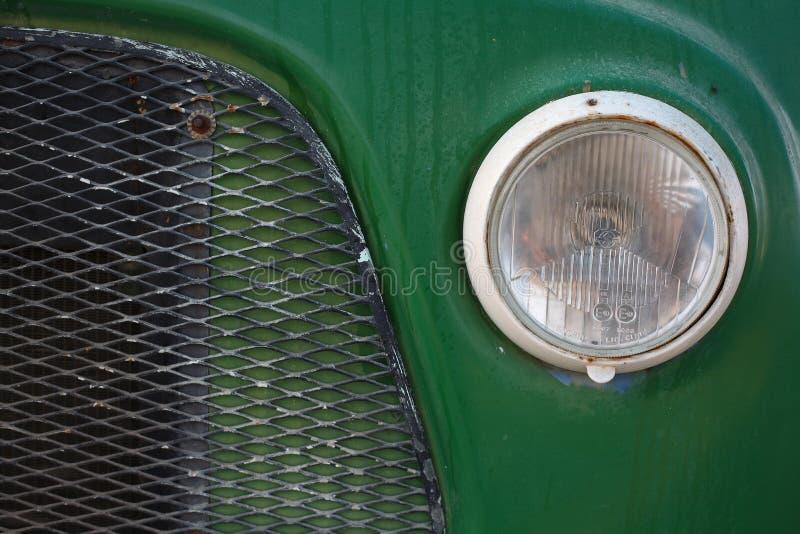 Green vintage car closeup royalty free stock photo