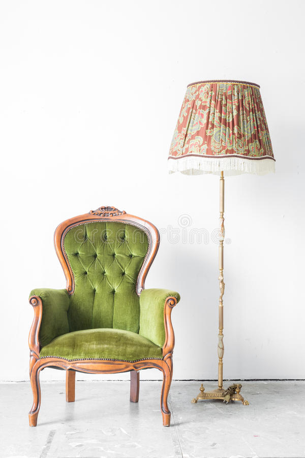 Download Green Vintage Chair Desk Lamp Stock Photo   Image Of Comfortable,  Green: 45376402