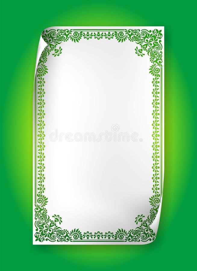 Green Vintage Frame with swirls and paisley on curl paper vector illustration