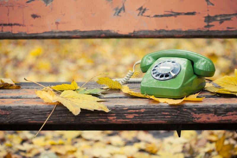 Green vintage phone stock image