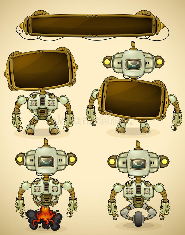 Green vintage robot devices royalty free illustration