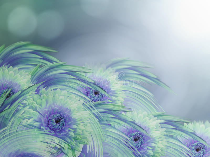 Green-violet dahlias flowers on turquoise-blue-sunny blurred background. stock illustration