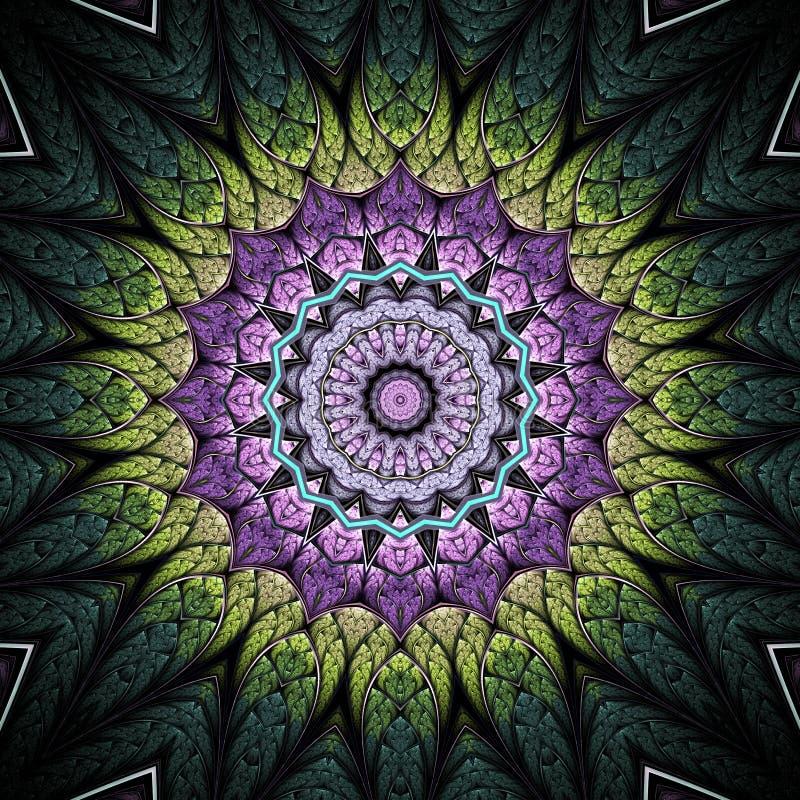 Green and violet fractal mandala stock illustration