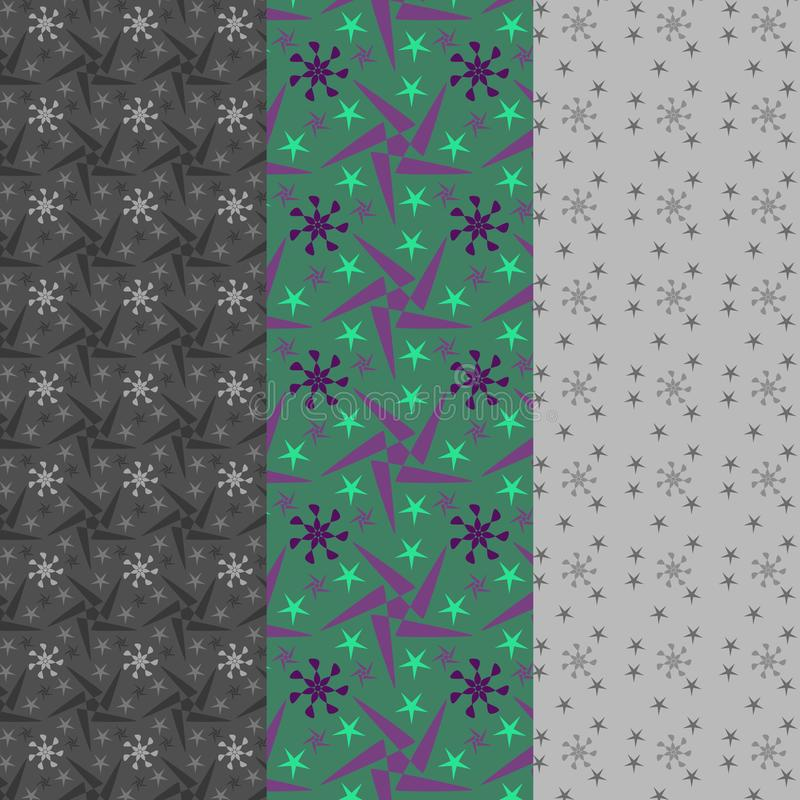 Green, violet and grey stars in a set of three seamless patterns stock illustration