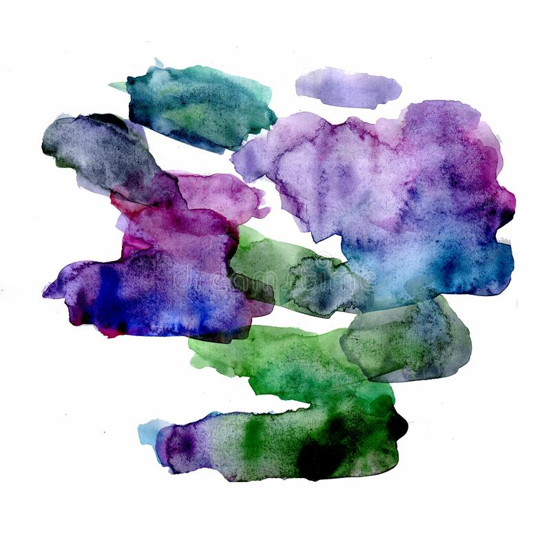 Green and violet watercolor bright spot. Isolated on white background stock illustration