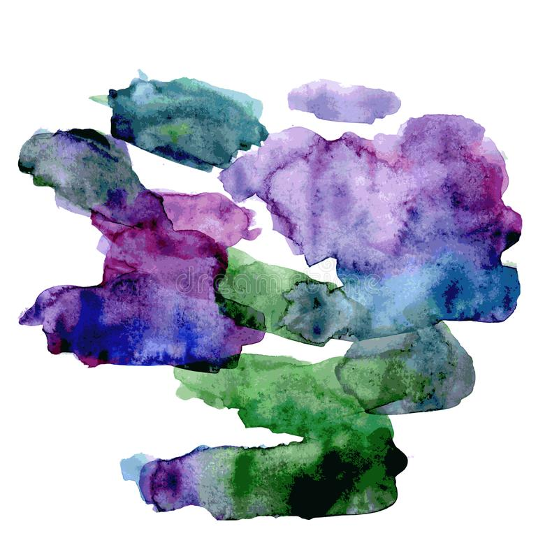 Green and violet watercolor bright spot. Isolated on white background. Vector vector illustration