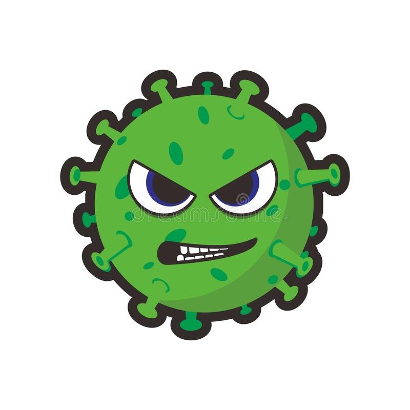 Green virus alive evil smile royalty free stock photos