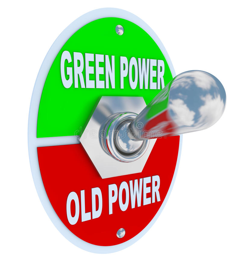 Green vs. Old Power - Energy Toggle Switch. A metal toggle switch with plate reading Green Power and Old Power, flipped into the Earth friendly energy position royalty free illustration