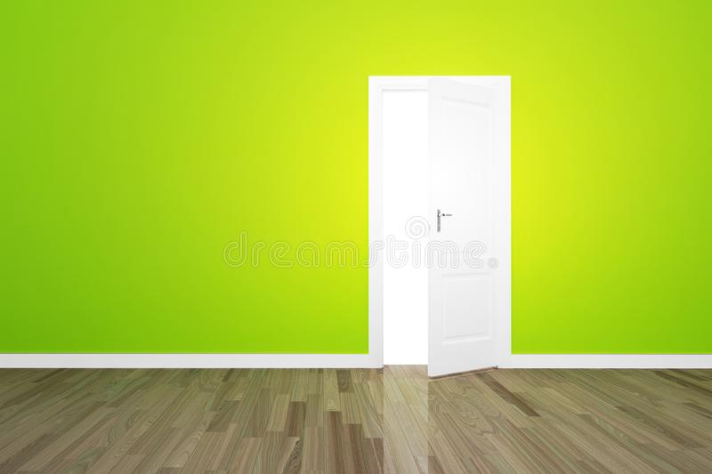 Green wall with opened door opportunity stock image
