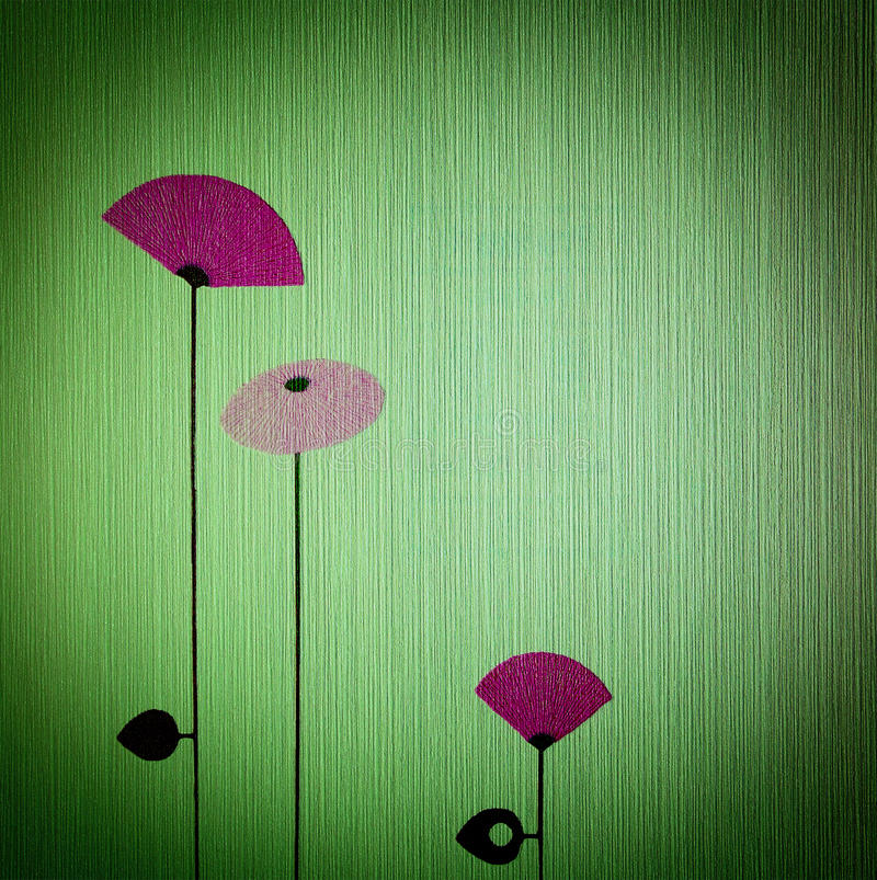 Green wallpaper. With abstract flowers stock photos