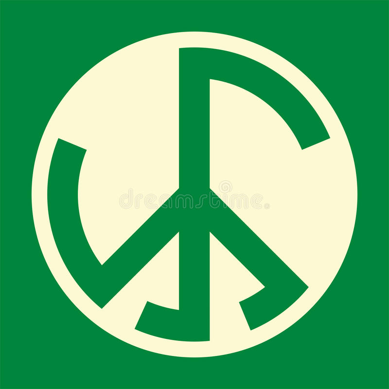 Green War And Peace Sign Royalty Free Stock Image