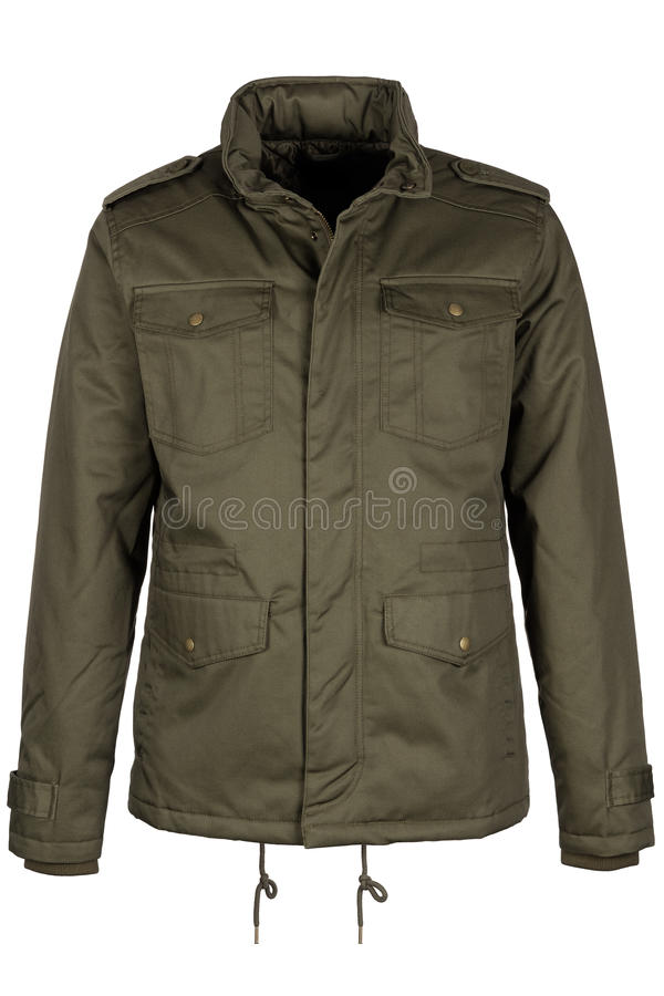 Green warm jacket stock image