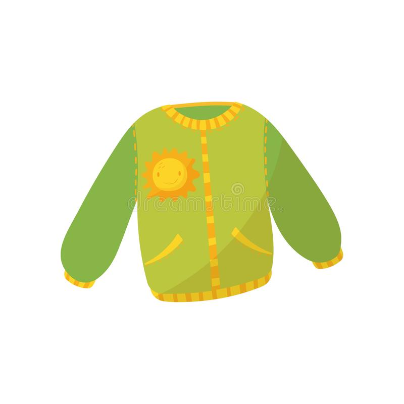 Green warm sweater with pockets and smiling sunny print. Children s jumper. Cute pullover for toddler girl or boy. Kids. Garment. Cartoon vector illustration in stock illustration