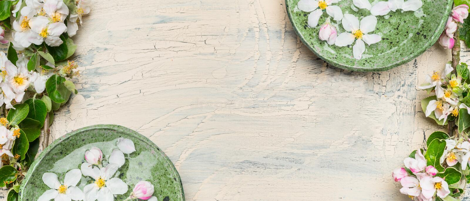 Green water bowls with white blossom on light shabby chic wooden background. royalty free stock photo