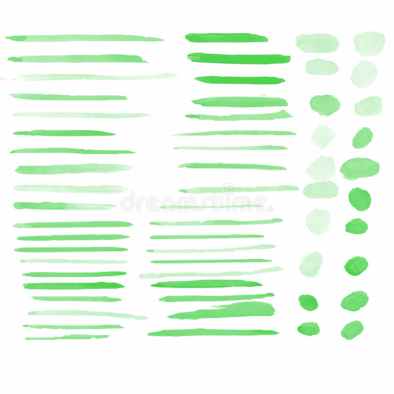 Green water color brushes set vector illustrations. Water color brushes 59 blob shapes set on paper art use for custom brush in Photo editor or use in commercial vector illustration