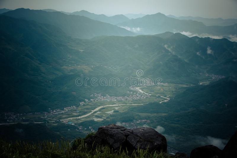 Some ancient villages in Anhui, China, are no longer occupied. They are empty houses. Between the green water and the green hills, in the misty mountains, these stock photography