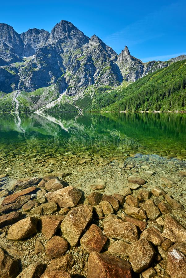 Green water lake Morskie Oko, Tatra Mountains. Poland royalty free stock photography