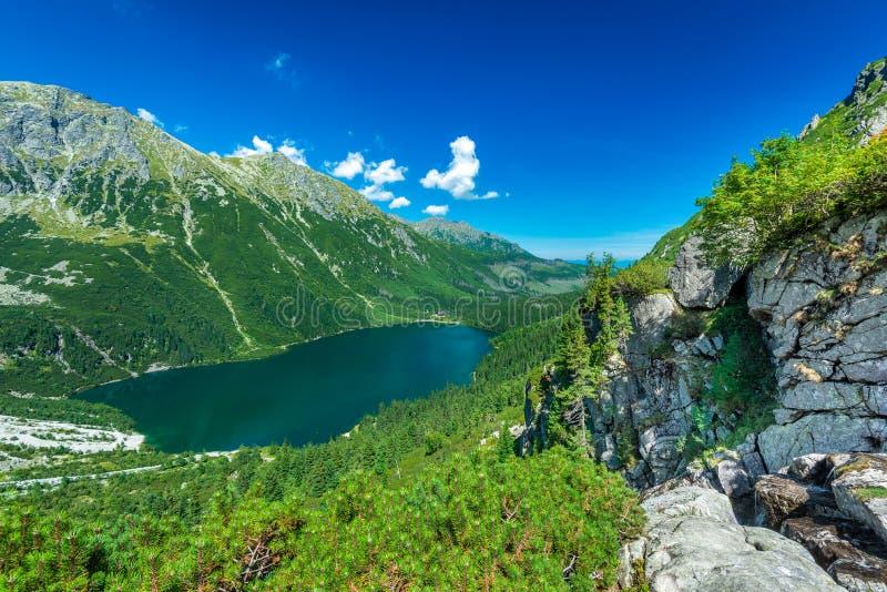 Green water lake Morskie Oko, Tatra Mountains. Poland royalty free stock photos