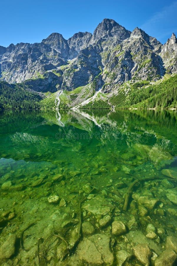 Green water lake Morskie Oko, Tatra Mountains. Poland stock photo