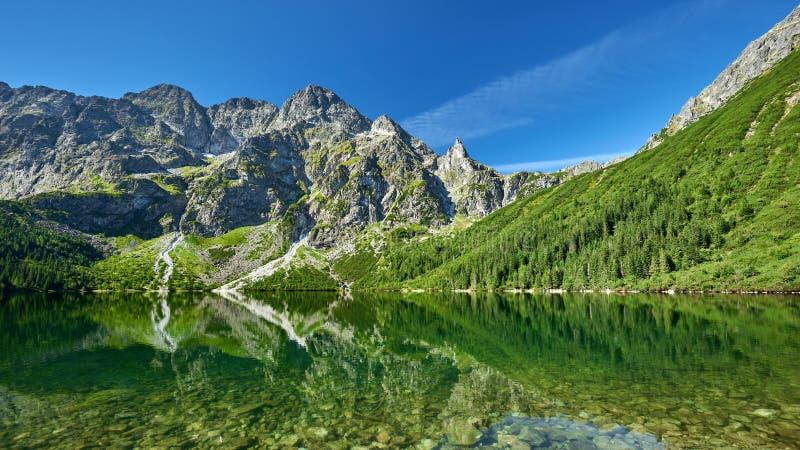 Green water lake Morskie Oko, Tatra Mountains. Poland royalty free stock image