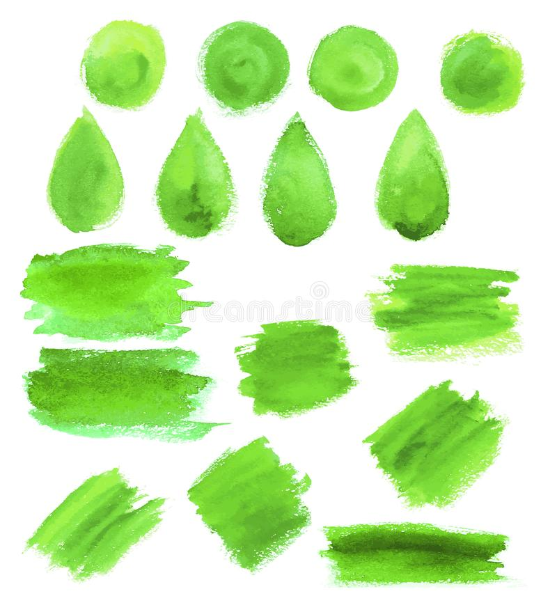 Green watercolor blob stains vector icons. Green watercolor abstract paint strokes, blobs and splashes and drops. Vector isolated stain icons of gouache or oil stock illustration