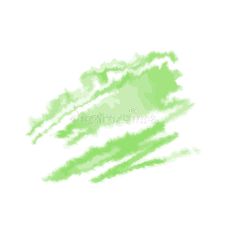 Green watercolor blot isolated on white background. Vector illustration. royalty free illustration