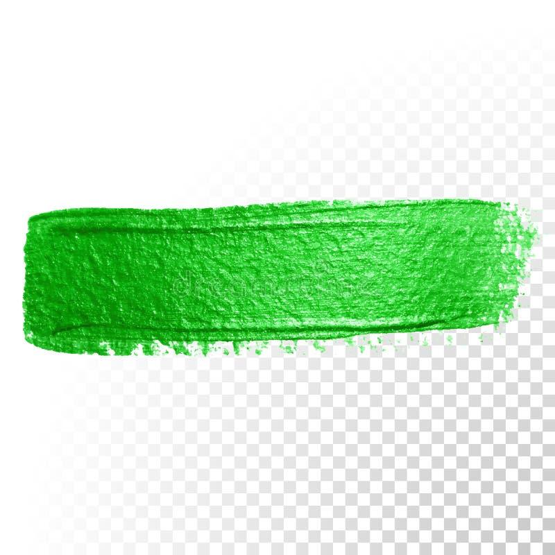 Green watercolor brush stroke. Vector oil paint smear. Polish trace. Vector green watercolor glitter brush stroke. Abstract polish splash trace. Green oil paint vector illustration