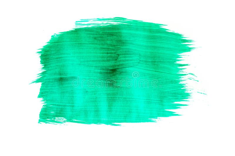 Green watercolor brushstroke pattern isolated on white background. Green watercolor brushstroke pattern isolated white background royalty free stock photos