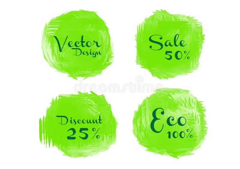 Green watercolor circle paint, Grunge circle, icon design, Hand drawn design elements, vector brush strokes. Sale banner royalty free illustration