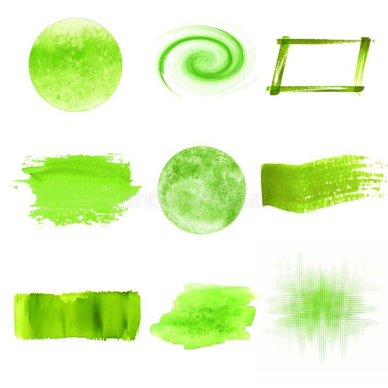 Green watercolor logo design template spots set royalty free illustration
