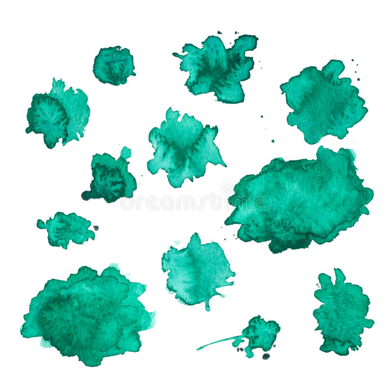 Green watercolor smudges. Isolated on a white background royalty free illustration