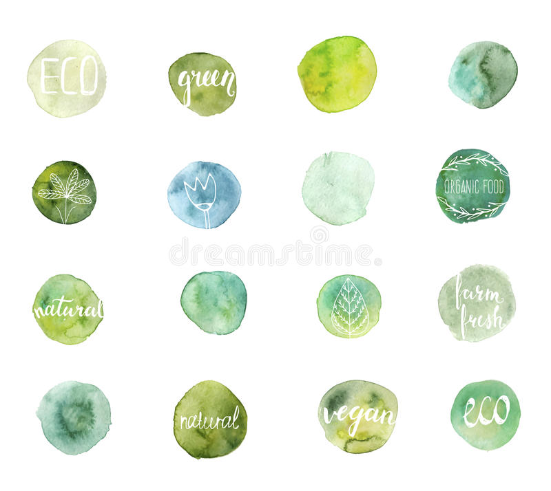 Green watercolor stains. stock illustration
