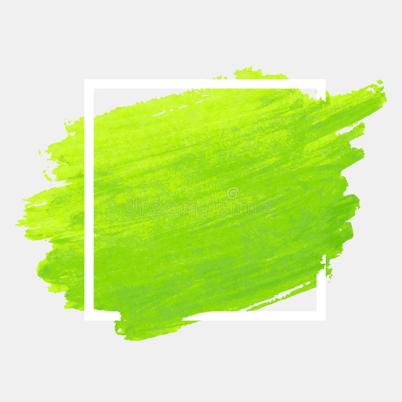 Green watercolor stroke with white frame. Grunge abstract background brush paint texture royalty free illustration
