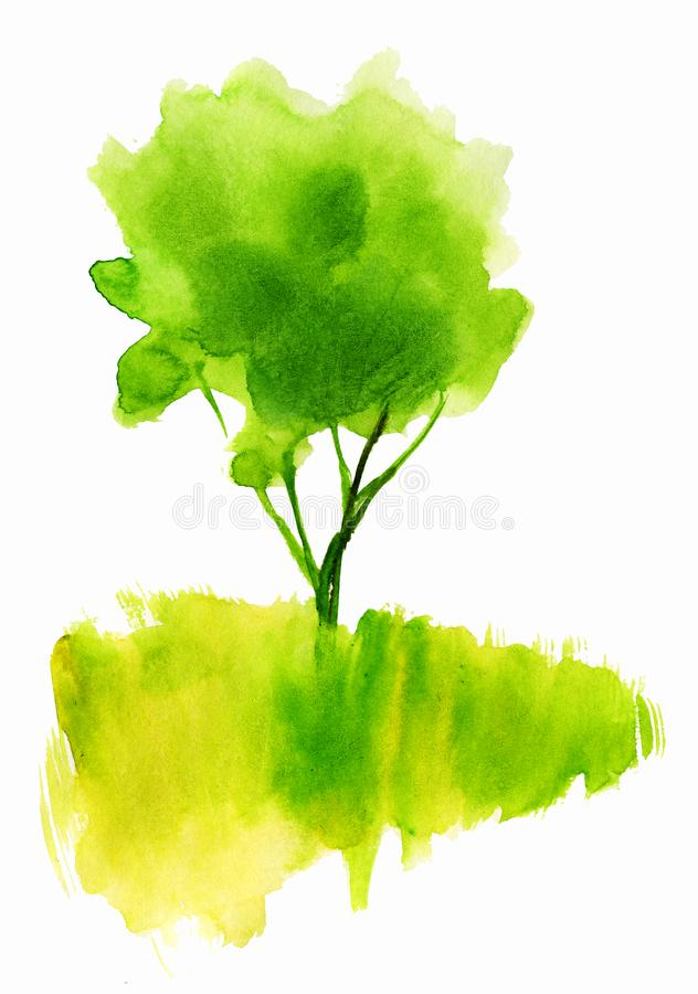 Green watercolor tree in the field. royalty free illustration