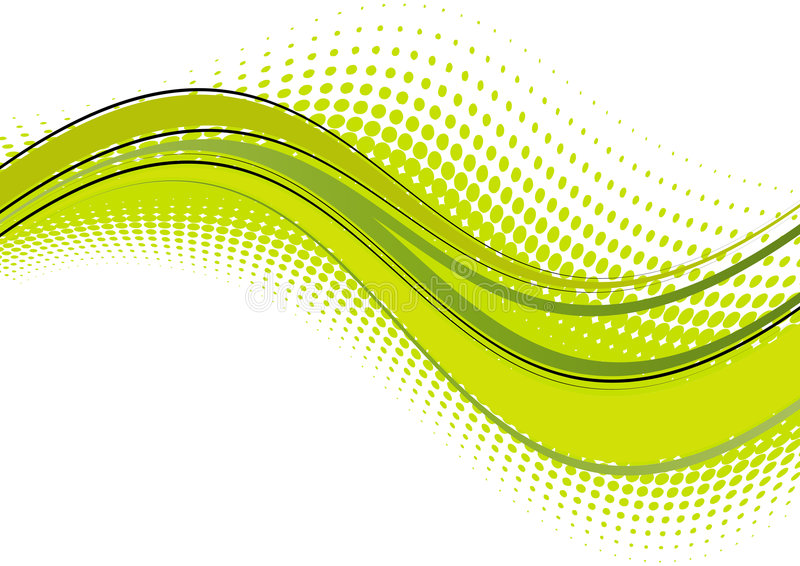 Green wave abstract. Abstract in shades of green in a wave design across the page. Wave design consisting of green dots mirrors the original design. Isolated on royalty free illustration