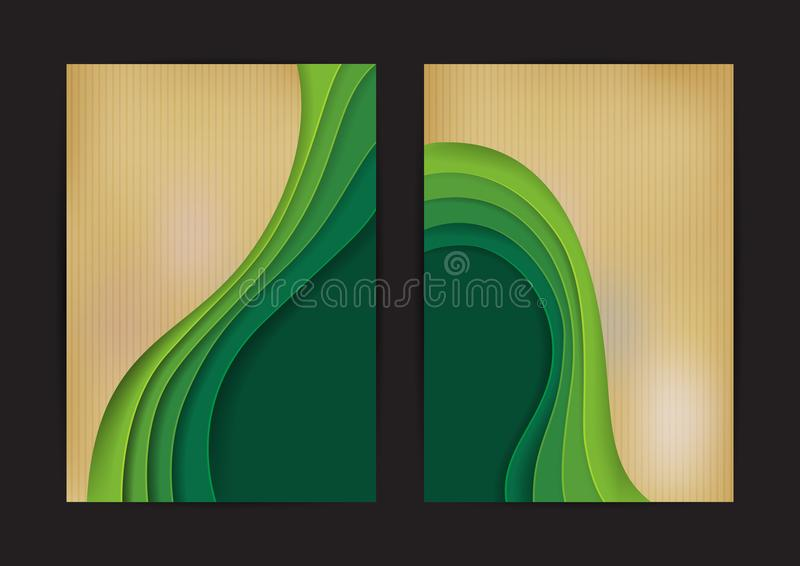 Green wave abstract background paper carve with cardboard stock illustration