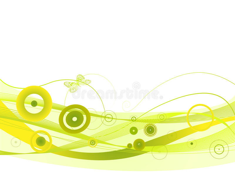 Green waves. Fresh background with green waves and circles decoration elements stock illustration