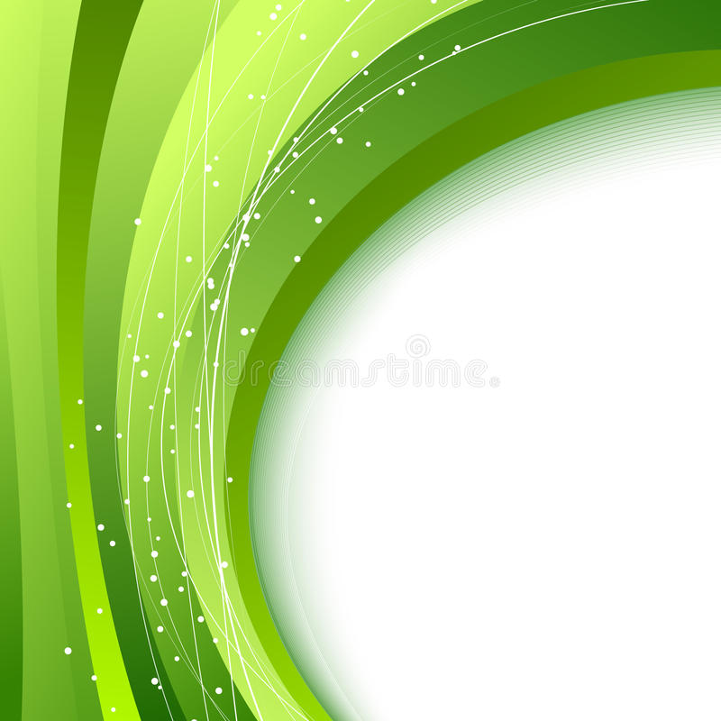 Green waves - abstract fresh spring background. Clip-art vector illustration