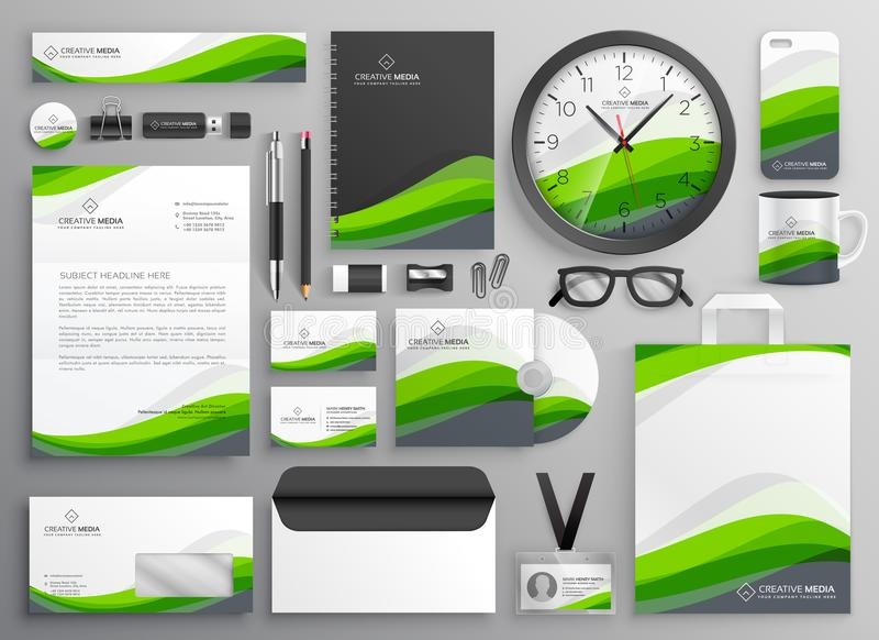 Green wavy business stationery set template design for your bran. D stock illustration