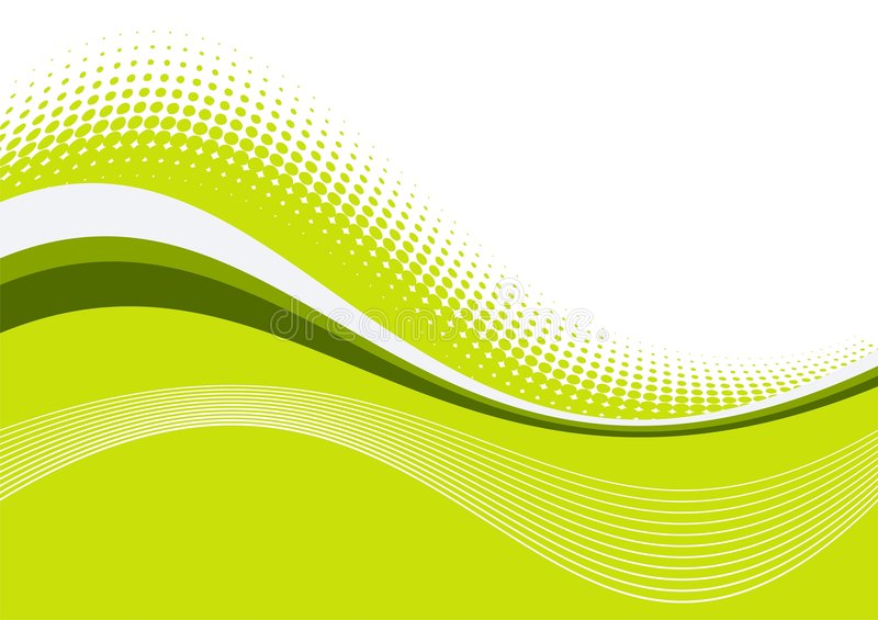 Green wavy graceful lines stock image