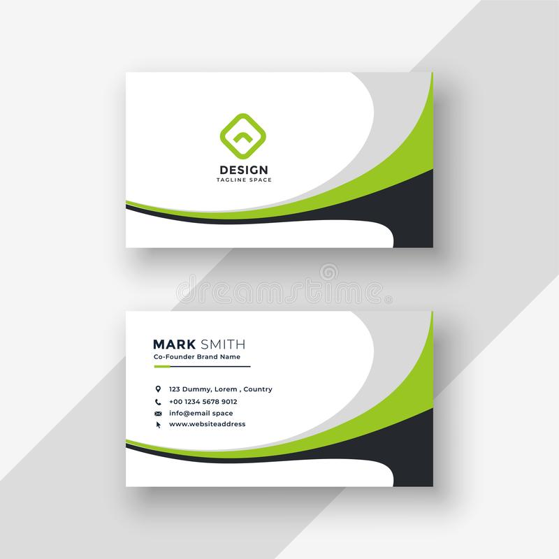 Green wavy professional business card design royalty free illustration