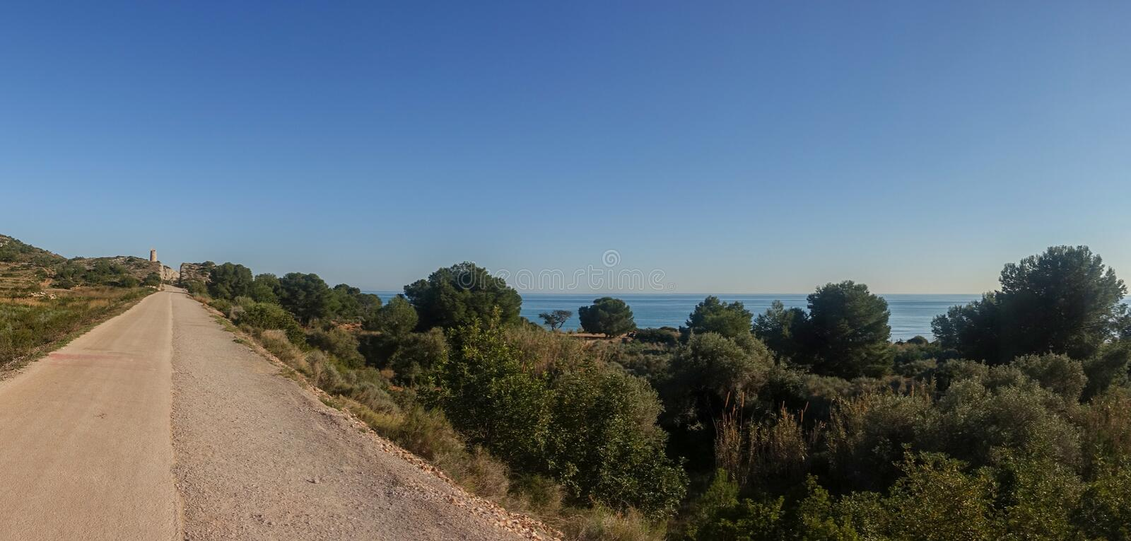 The green way of Benicassim and oropesa del mar, Costa azahar. Spain royalty free stock photo