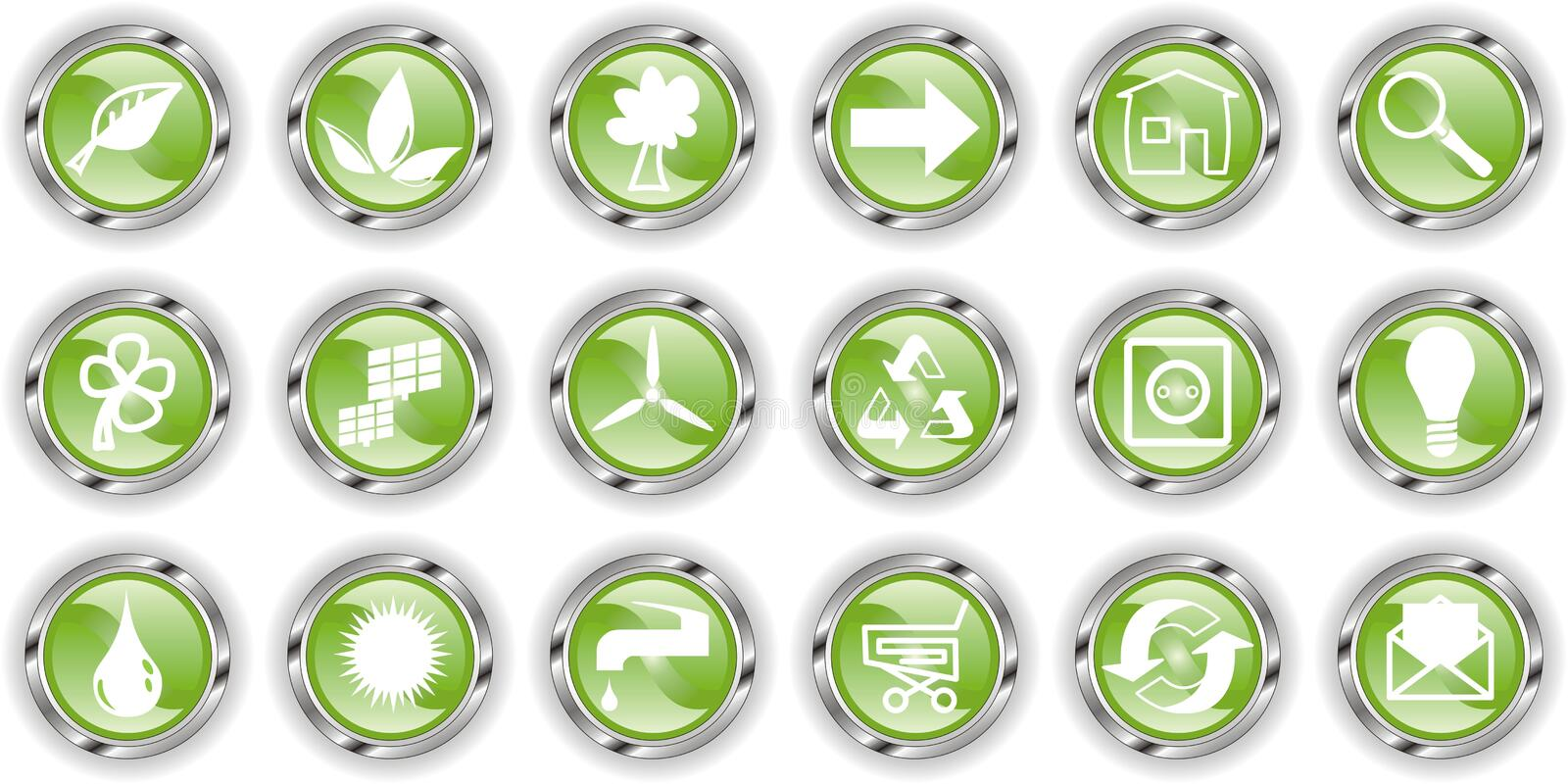 Green web button or icon royalty free illustration