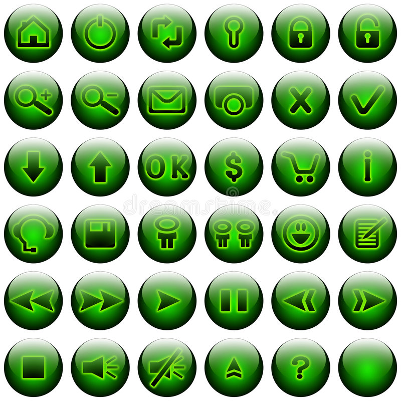 Download Green Web Buttons Set stock illustration. Image of article - 6998898