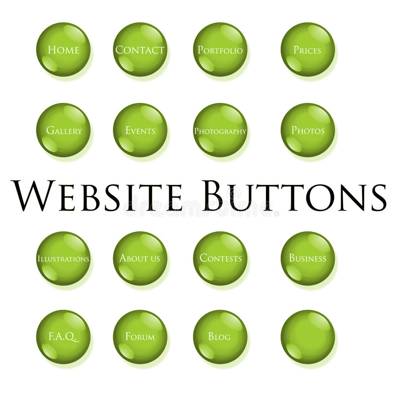 Green website buttons stock photography