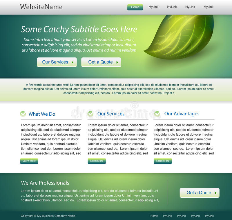 Green Website Nature Template Design Stock Image
