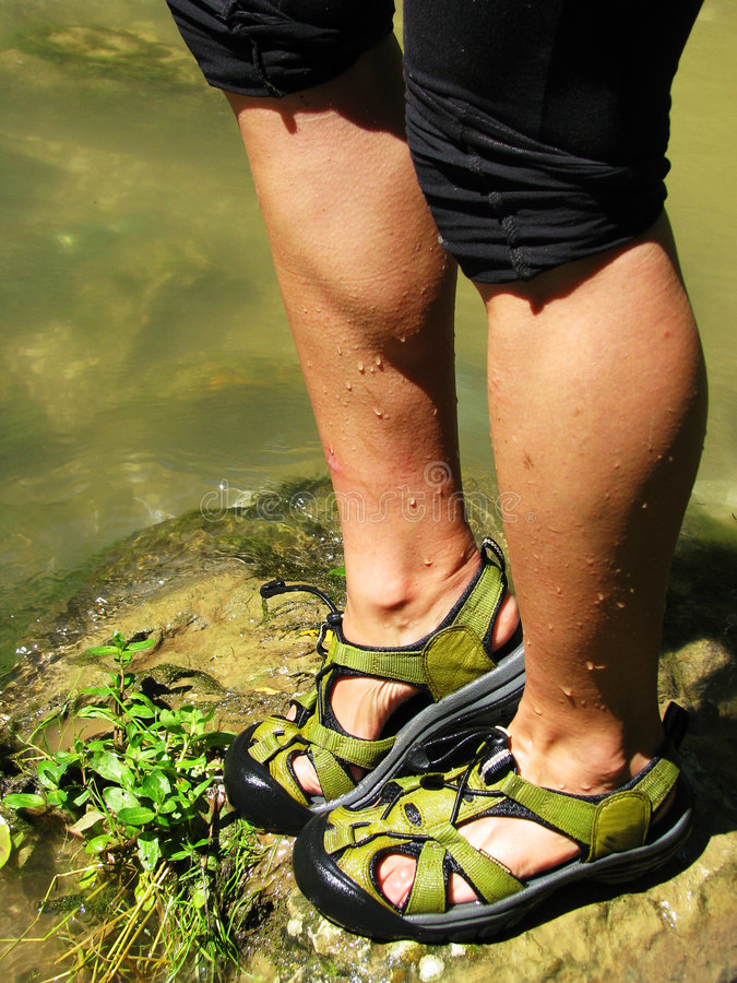 Green wet sandals royalty free stock images