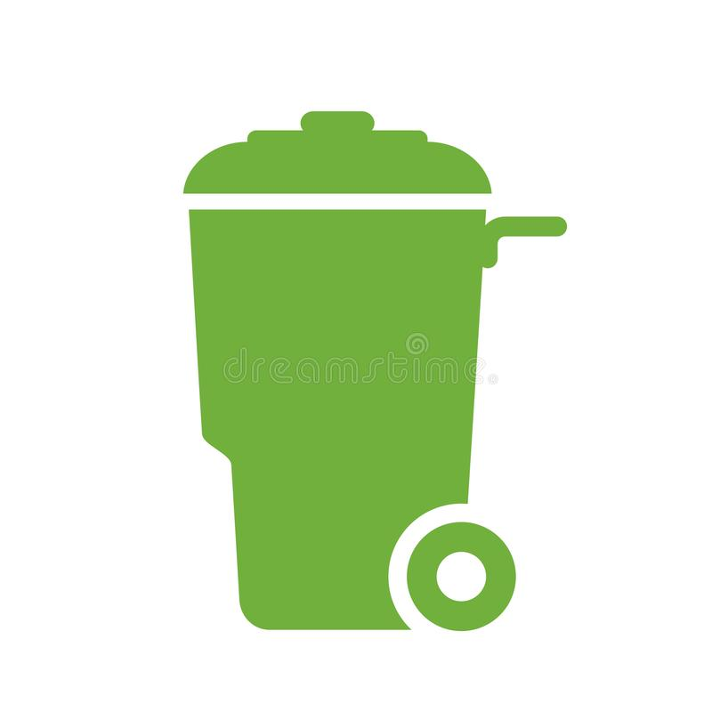 Green wheely trash can vector icon. Green wheely trash container vector icon stock illustration