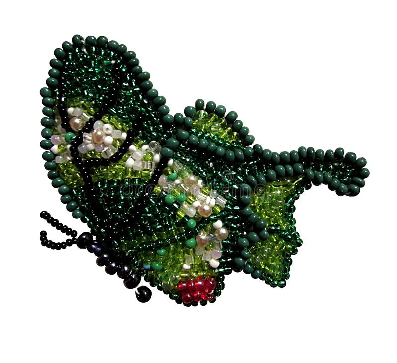 Green with white and black butterfly beads royalty free stock photography